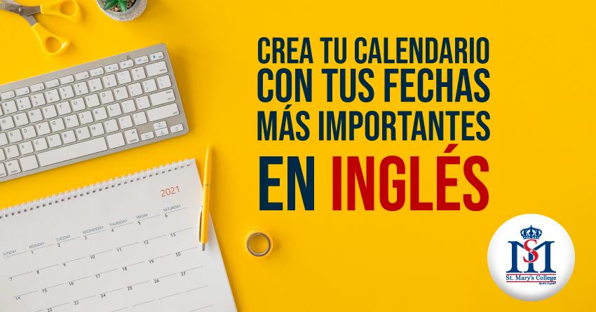 img aprende ingles y crea tu calendario con tus fechas importantes en ingles